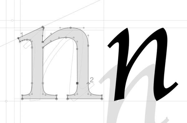 2_Przymiarki do odmiany regular – litera n w odmianie pionowej oraz italic