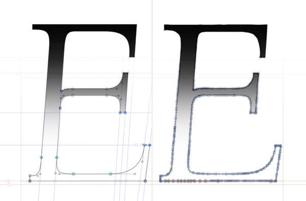 5_Porównanie automatycznej zamiany na krzywe (po prawej) ze zdigitalizowaną literą E (po lewej)